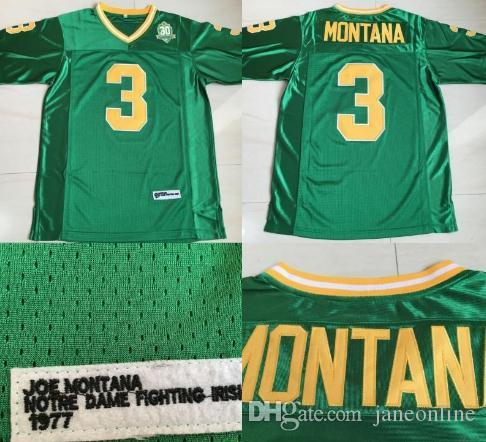 outlet store b23f4 72fbe Ncaa Mens #3 Joe Montana Jerseys Notre Dame Fighting Irish Joe Montana 100%  Stitched College Jerseys Green Wholesale Drop Shipping