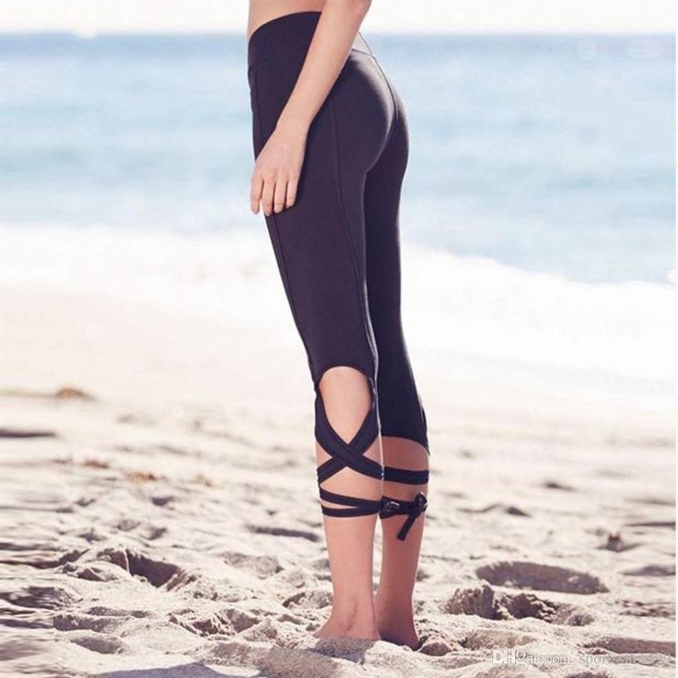 6223f69c6c650 2019 Yoga Tights Tie Up Leggings Strappy Pants Calf Length Pants Capris  Dance Ballet Straps Women High Waist Sports Leggings #294478 From  Sportsshoes99, ...