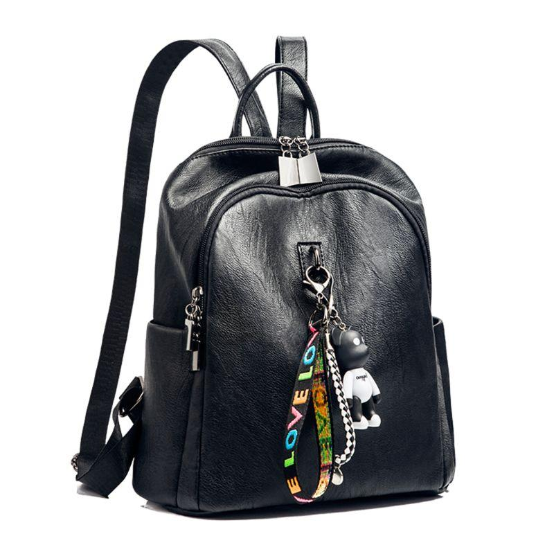 Women Cute Pendant Backpack Girl Earphone Hole School Shoulder Bag Rucksack  Leather Travel Casual Daypack Swiss Backpack Laptop Rucksack From Sunsnoww 4b8d419e935bf