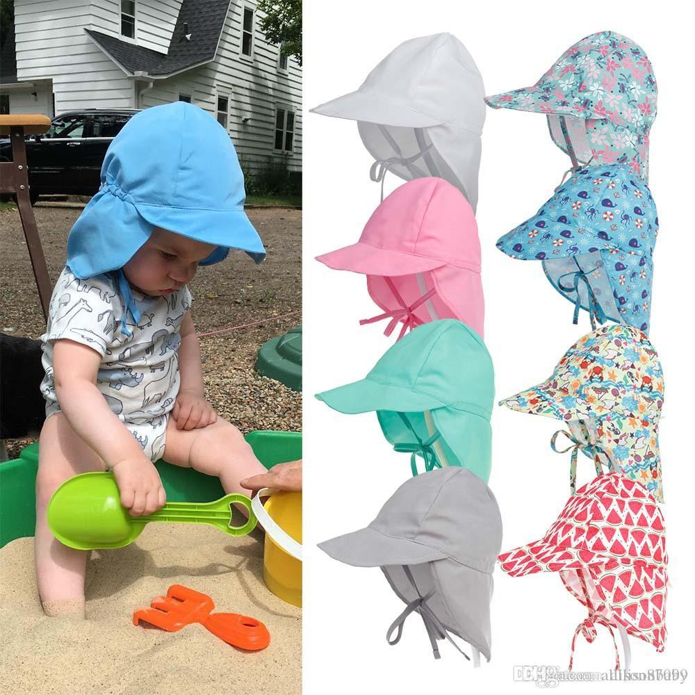 62c741a040da Kids Baby Bucket hat Visor Beach Sun protection Anti UV Quick Dry  Adjustable Caps Solid and Print Summer
