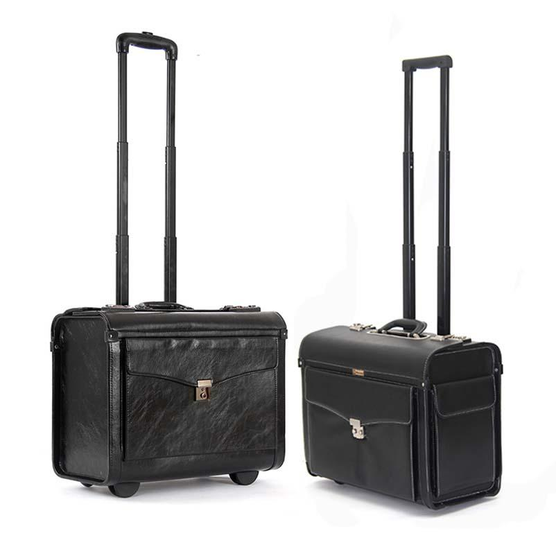 b424e5037952 16 inch PU Leather Rolling Luggage Spinner Men Business Suitcase Wheels 19  inch Carry on Trolley pilot Travel Bags laptop bag
