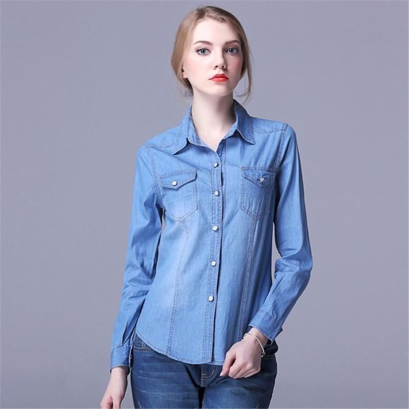 076c4829 Denim Women Cowboy Shirt Long Sleeve Ladies Turn-down Collar Tops Solid  Femininas Vintage Blusa Casual Women Cotton Shirt blouse KD-017