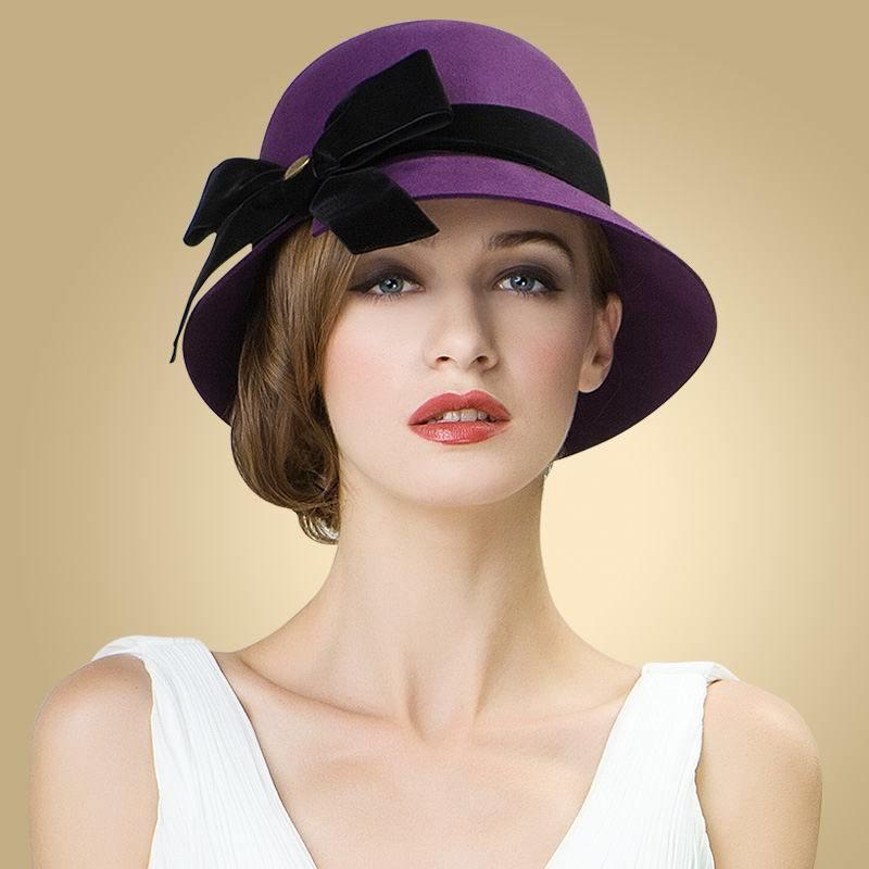 f6ec3d830ef 2018 Ladies Women Girls Vintage 100% Wool Felt Bowler Derby Fedora Trilby  Bowknot Fedoras Hat Cap For Woman Party Wedding Fedora D19011102 Beanie Hats  ...