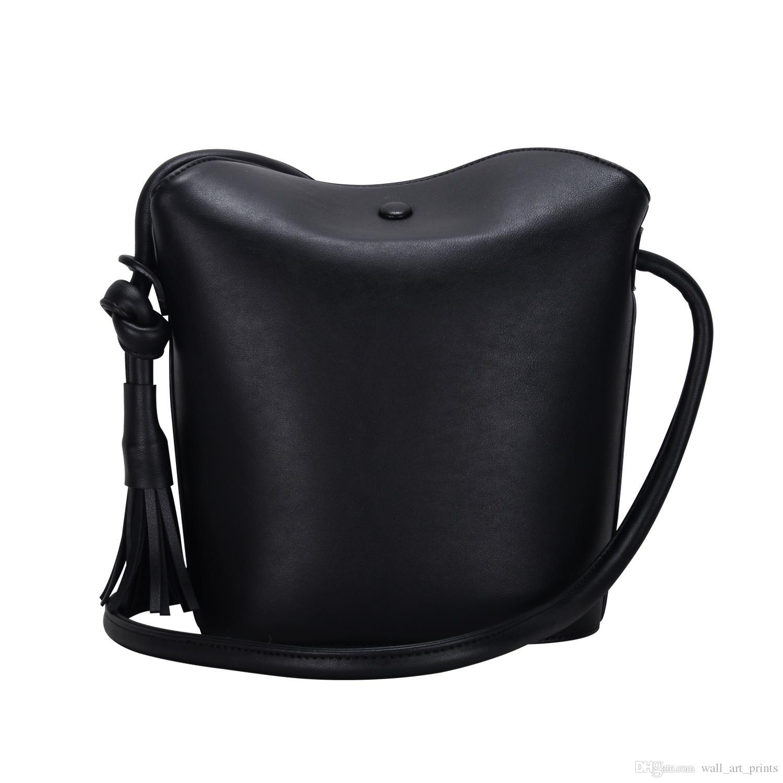 ef35645c986 Bucket Bag with Tassel Faux Leather Handbag PU Shoulder Bag For Women