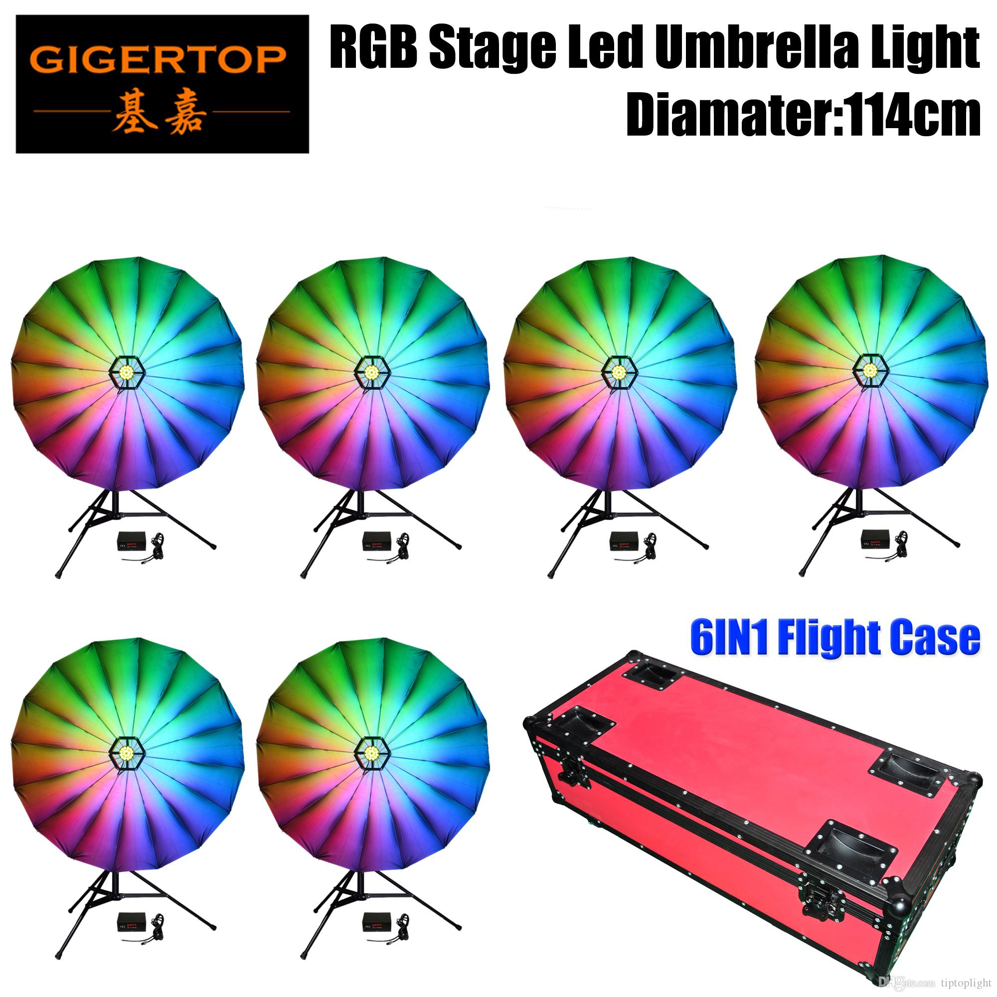 Commercial Lighting Gigertop Tp-hu526 12w Rgb Led Umbrella Lighting Silver Color Reflector Surface Dmx Controller Box Build In Program Party Wedding
