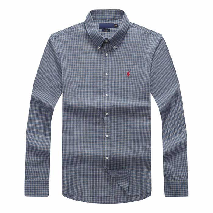 gggd Shipping plaid lapel men's long sleeved Cotton Shirt Men Navy Blue POLO Shirts Oxford Business Casual Shirt Small Horse Clothes s-xxxl