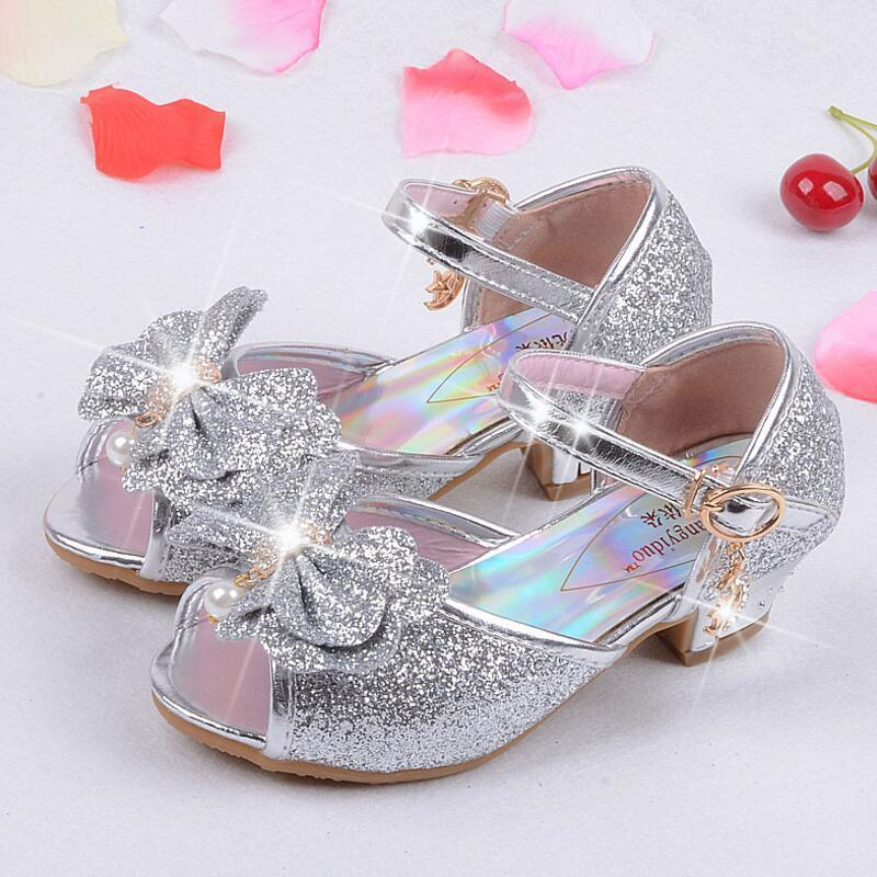 Qloblo Children's Mules Clogs Shoes Summer Princess Sandals Kids Girls Wedding Shoes High Heels Leather Bowtie Dress Shoes Y190523