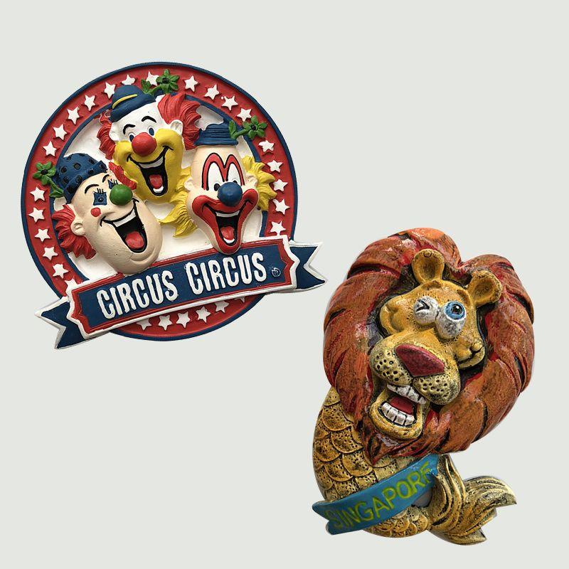 Cartoon Clown Circus Singapore Travel Merlion Resin Fridge Magnet Sticker Wedding Decorations Ideas Souvenir Birthday Gifts Magnets Poem Printed