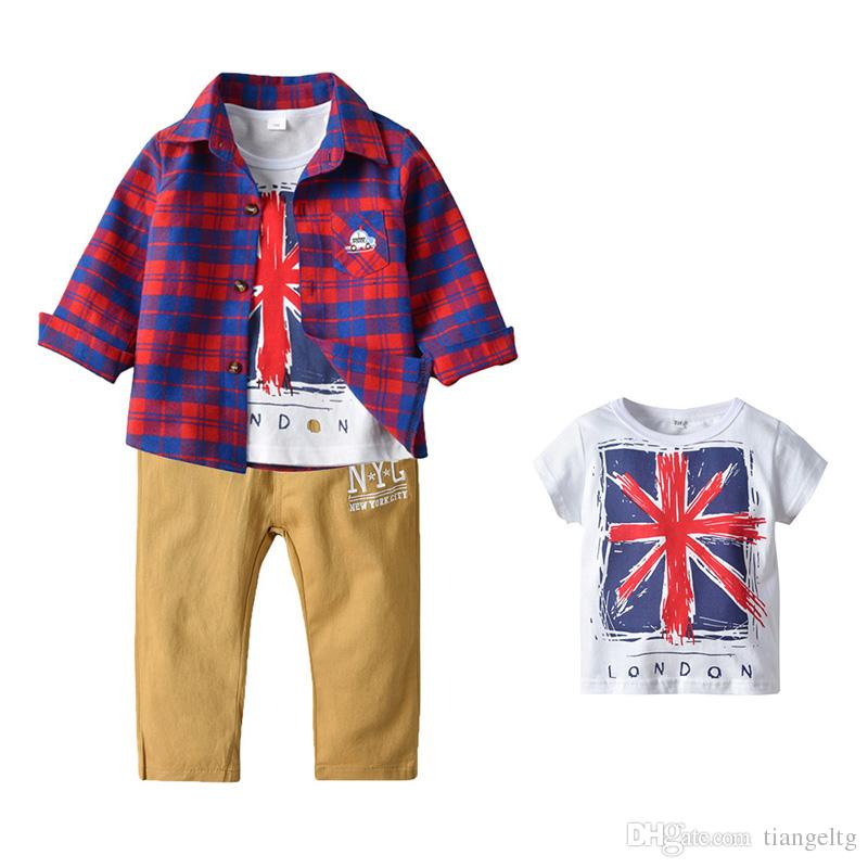Kids Boys Clothing Set Plaid Printed Coat Letters T-shirt Solid Pocket Pants Children Designer Clothes 2-6T 08