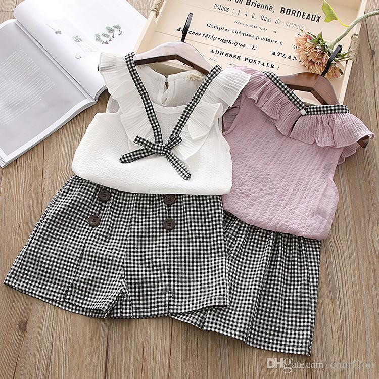 children clothing sets for baby girls summer style 2PCS sleeveless chiffon top + grid short pant kids cloth suit for girl