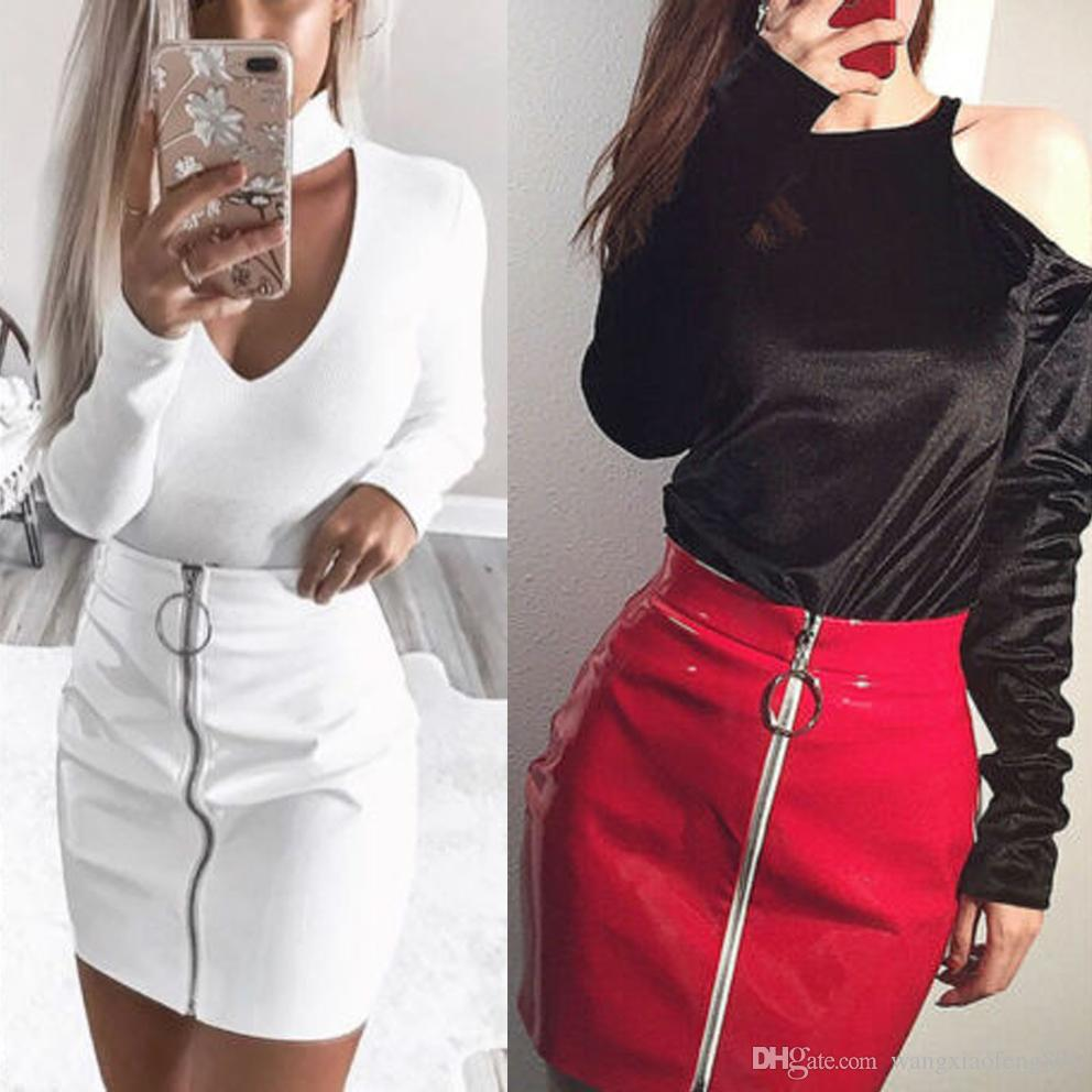 Women Fashion High Waist Zipper Stretch Short Pencil Bodycon Mini Skirt White
