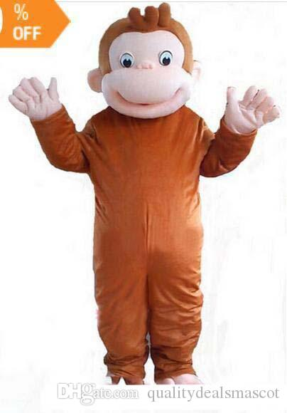 Brand 2019 New high quality Curious George monkey Adult mascot costume fancy party dress Halloween costume summer hot sale