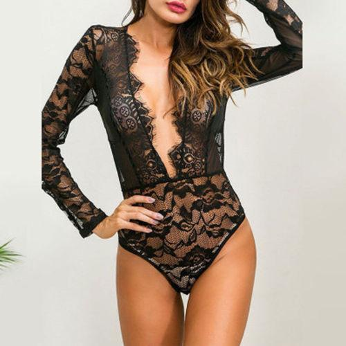 84833dda248 Black Lace Women Sexy Lingerie Long Sleeve Bodysuit Bodycon Deep V Nexk  Sheer Mesh Tops Teddies Nightwear Summer Clothing
