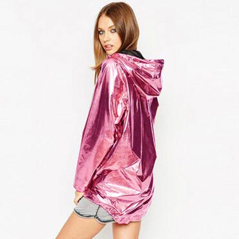 2019 New Women's Jackets Metallic Color Bomber Jacket Womens Outerwear Hooded Spring Coat Femme Zip Up Waterproof Jacket D366 T190817