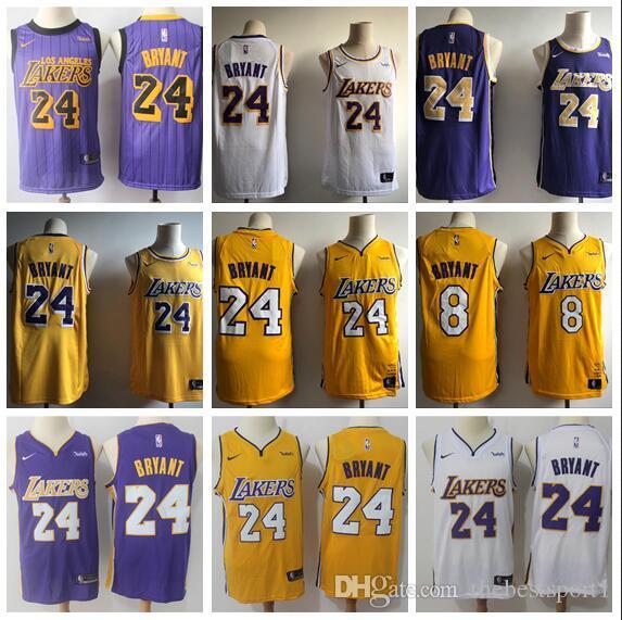 competitive price 22b28 57a02 Men's LA LeBron City 23 James 8 KOBE 24 KOBE White Purple Gold 2018/19  Swingman Jersey - Icon Edition