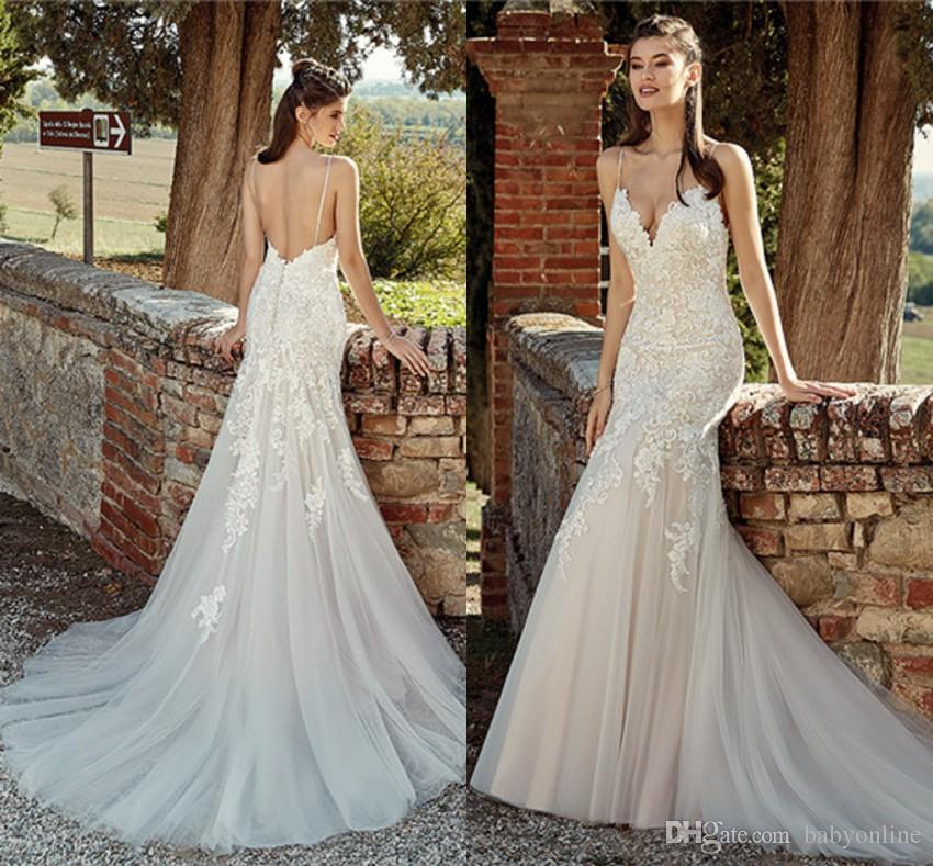 109812b9b2a Sexy Open Back Lace Mermaid Wedding Dresses 2019 Spaghetti Straps Appliques  Ruched Long Bridal Gowns Custom Made EK Wedding Dress With Lace Wedding  Dresses ...