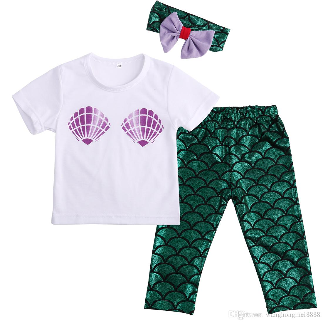 Newborn Baby Girl Summer Clothes Set Shell Tops T-shirt+Mermaid Leggings Outfits Set Costume