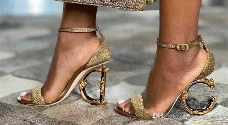 Orgin Paket Gelin Düğün Ayakkabı Gerçek Deri Mektup Altın Topuklu Düğün Sandalet Boyutu 34 - 40 TicaretBear