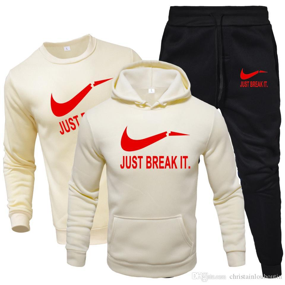 2020 Tracksuit Fashion Hoodies For Men Sportswear Three-Piece Sets of thick hooded wool + Pants +T-shirt Sports Suit