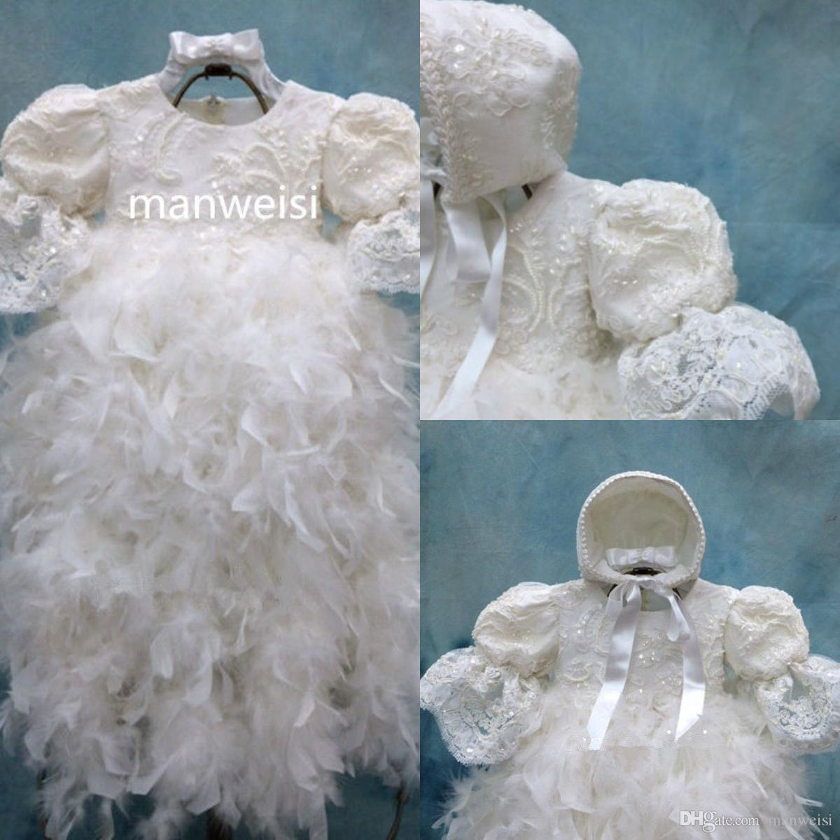 90f9d802c213 Luxury Christening Dresses Feather Sequins Infant Toddler Baptism ...