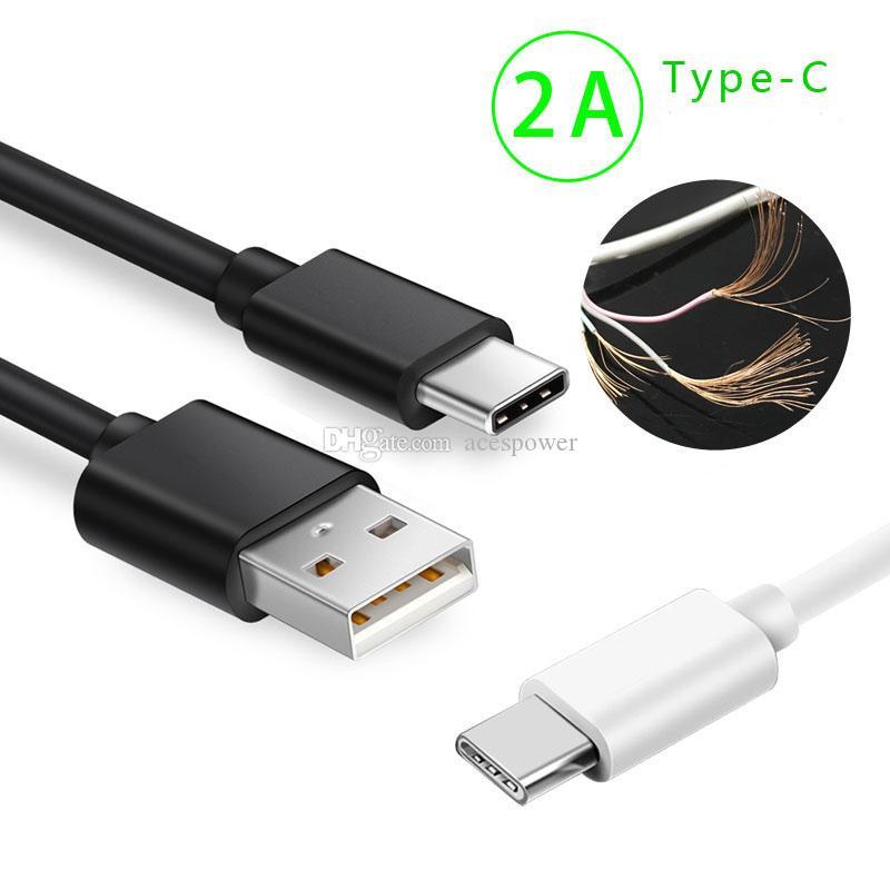 1 متر 3ft 2a كابل USB نوع C مايكرو الروبوت الكابلات شاحن سريع تهمة البيانات لسامسونج غالاكسي ملاحظة 10 زائد
