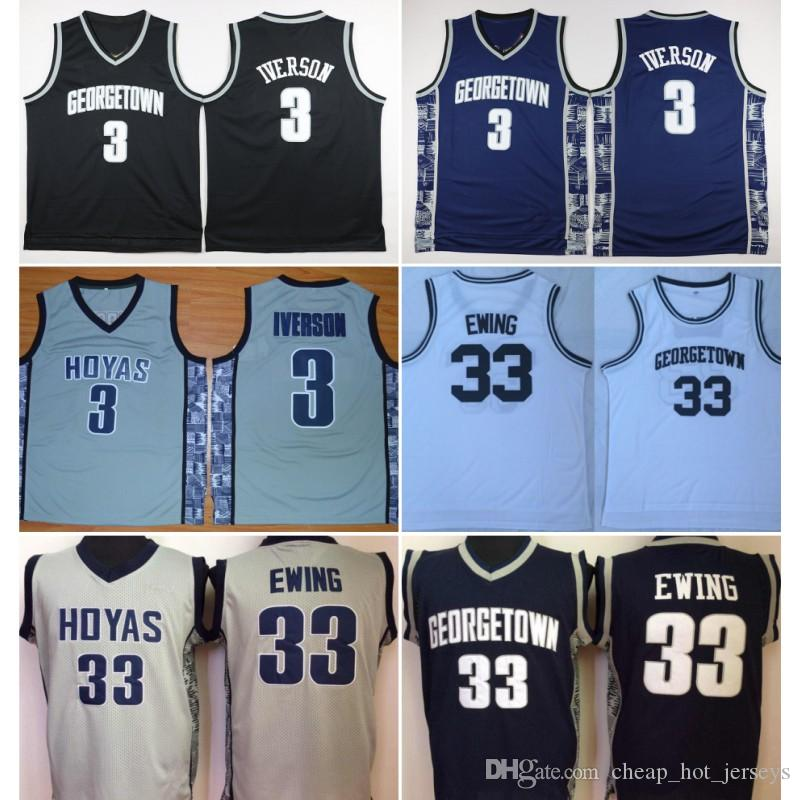 University Georgetown Hoyas Jerseys Men Sale Basketball Allen 3 Iverson Jersey Patrick 33 Ewing Uniform College Sport Breathable Top Quality