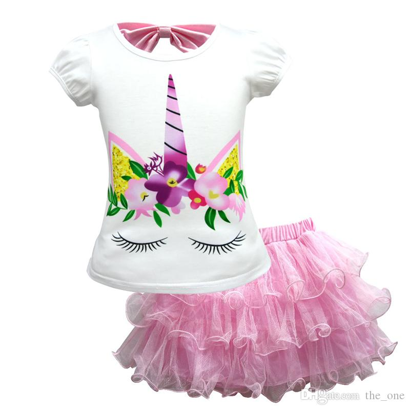 13422ffe 2018 Fashion Unicorn Suit Girls Short-sleeved T-shirt Two-piece Children's  Mesh Dress Suit Unicorn Party Supplies Baby girl clothes