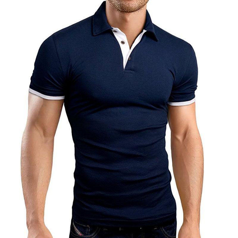 Compre Ropa De Marca De Polo De Moda Masculina Casual Para Hombre Camisas  De Polo Sólido Informal Camisa De Polo Tops De Alta Calidad Slim Fit Camisa  ... 42c731ef9dfdd