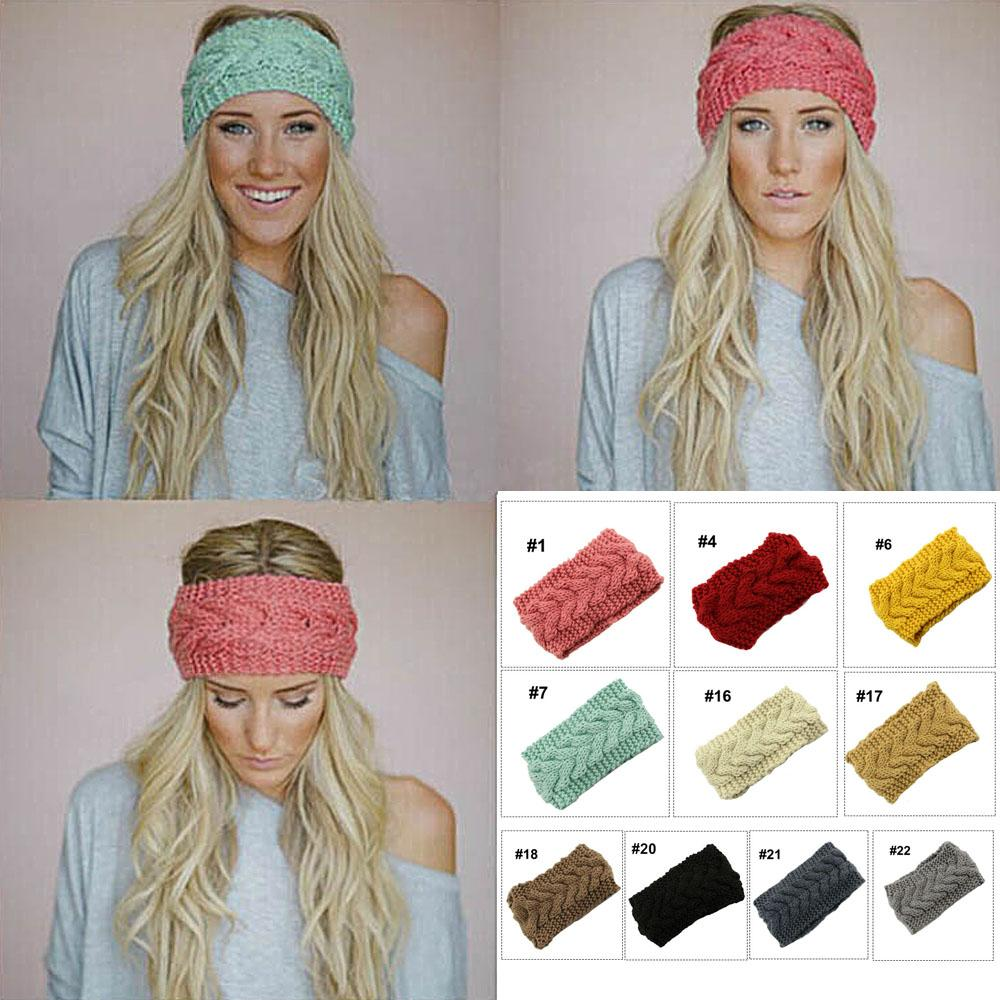 Winter Fashion Women Knitted Turban Headbands Solid Color Warm Crochet Headwrap Wide Ear Warmer Hairband Hair Accessories #1