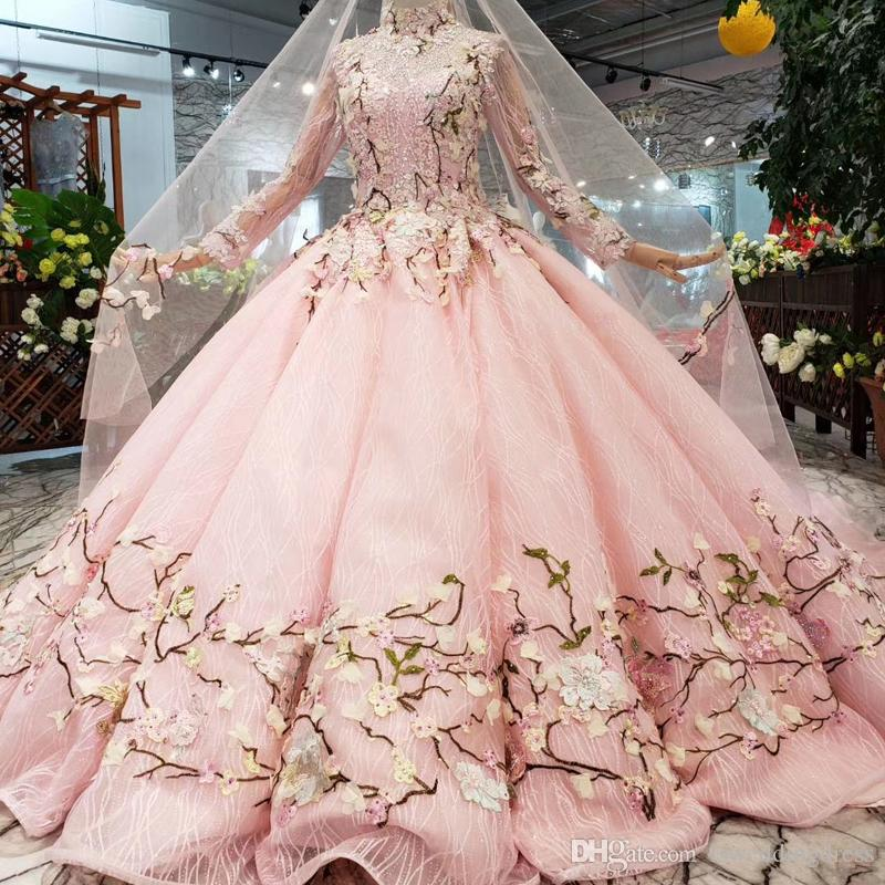 2019 Lovely Pink Muslim Wedding Dresses Long Tulle Veil Multicolor Applique Wedding Gowns High Neck Long Sleeve Beaded Swollen Gowns Dubai