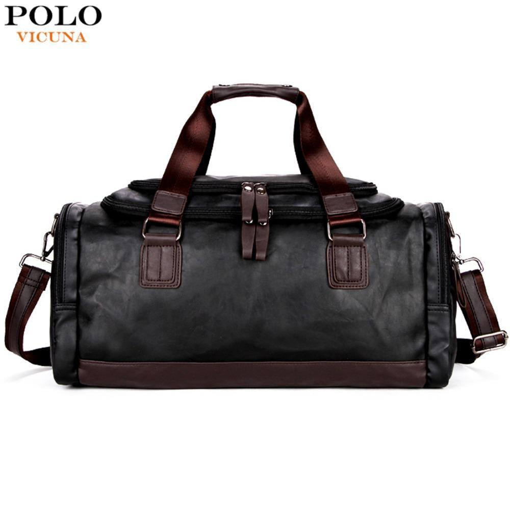 dd93bf7596d VICUNA POLO Lrage Capacity Patchwork Men Travel Bag Perfect Quality Man  Leather Travel Bags England Style Mens Travel Handbags Online with   56.29 Piece on ...