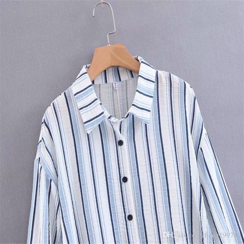 design intemporel 2f433 3dae6 Chemise à rayures verticales femme printemps version coréenne du noeud  papillon lâche bleu et blanc avec une chemise étrangère petit frais