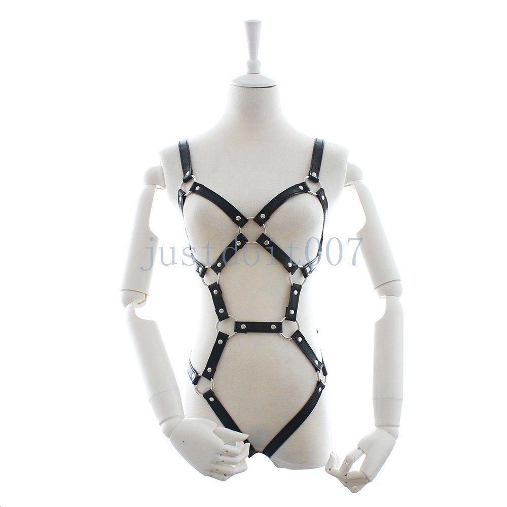 women 039 s pu leather open bust body chest women's pu leather open bust body chest harness chain underwear