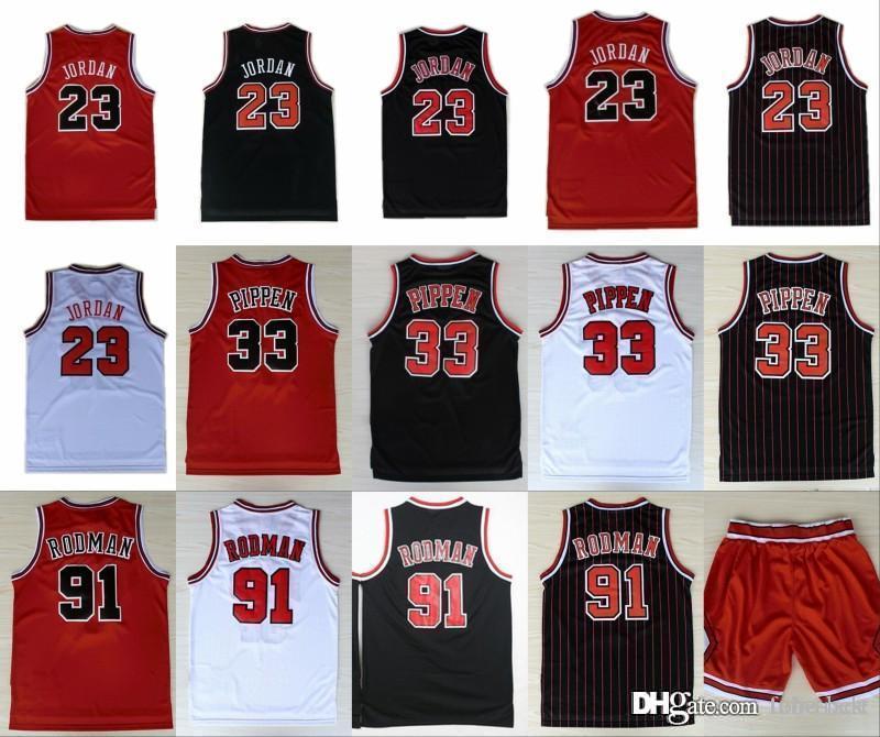 quality design cb067 5fd71 Chicago 23 Michael Bulls Basketball Jerseys 33 Scottie Pippen 91 Dennis  Rodman Red White Black Stitched Shorts