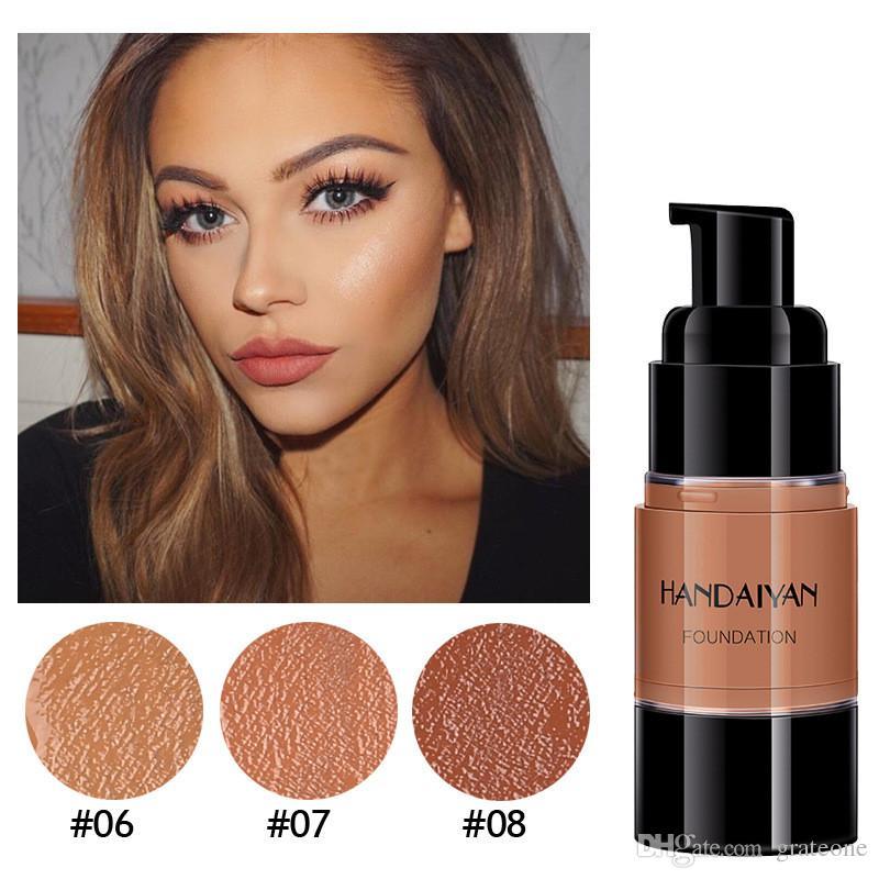 Dropshipping HANDAIYAN Dark Skin Base Covers Face Foundation Makeup Full Coverage Cream Facial Concealer Base Make Up Liquid Contour Makeup For Dark Skin ...