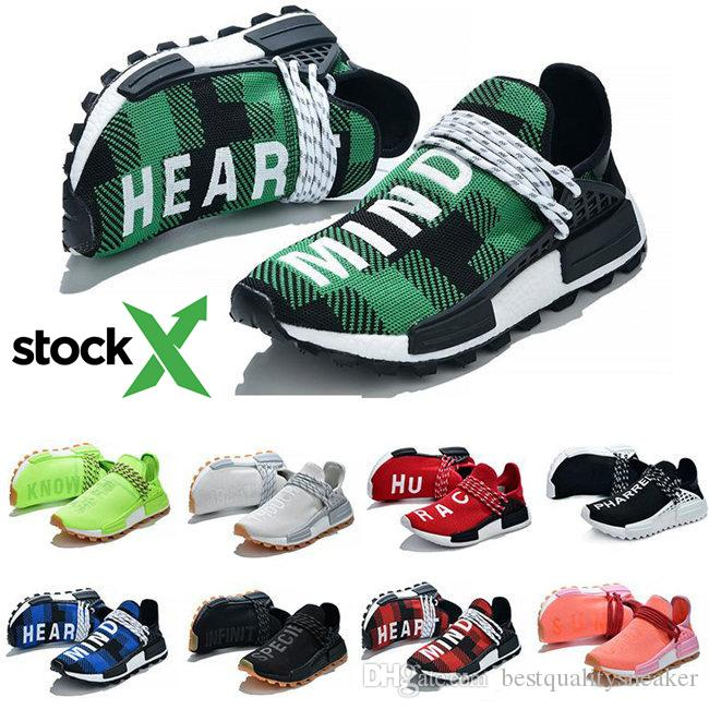 sale retailer 217db 91c1c With Stock X NMD Human Race Blue Plaid Nerd Nobel ink Running Shoes  Pharrell Williams HU Men Women Trainers Outdoor Casual Sport Sneakers