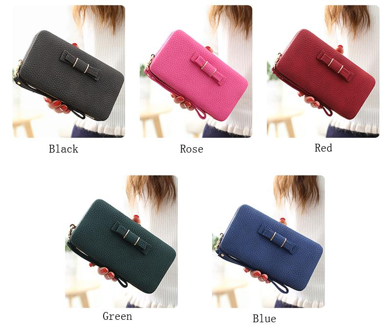 Bow Women Wallets With Cell Phone Pocket Card Holder Matte Leather Female Purse Wristband Ladies Wallet Clutch Handbag