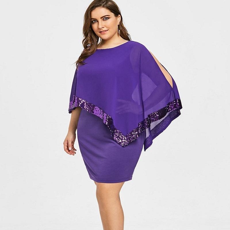 Robe ete 2019 explosion models irregular sequin stitching large size women  s dress women plus size dresses for women 4xl 5xl 6xl