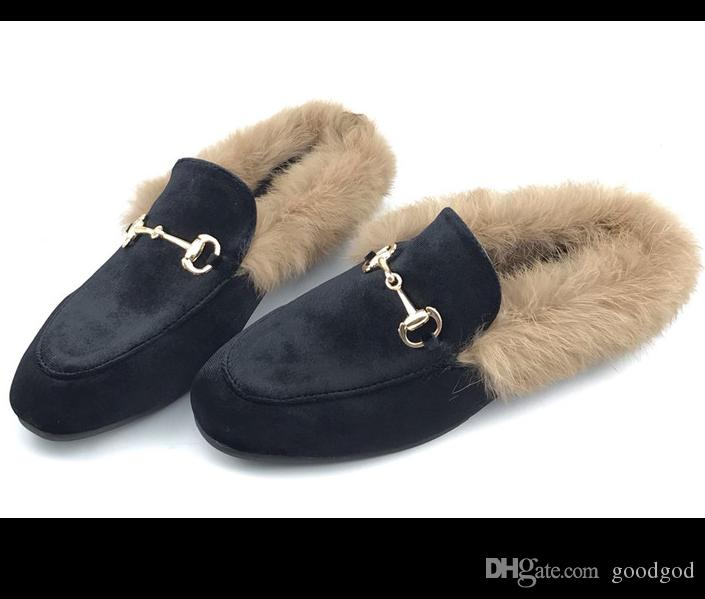 2019 New Style Winter Women Flat Fur Lined Warm Slippers Casual Flord Fur Loafers Suede Shoes Boots