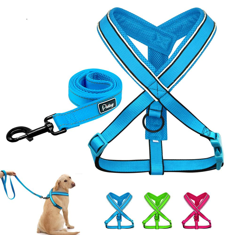 Reflective Dog Harness Leash Set Nylon Breathable Mesh Vest Leads Sets for  Small Medium Large Dogs Pitbull Rose Blue Green