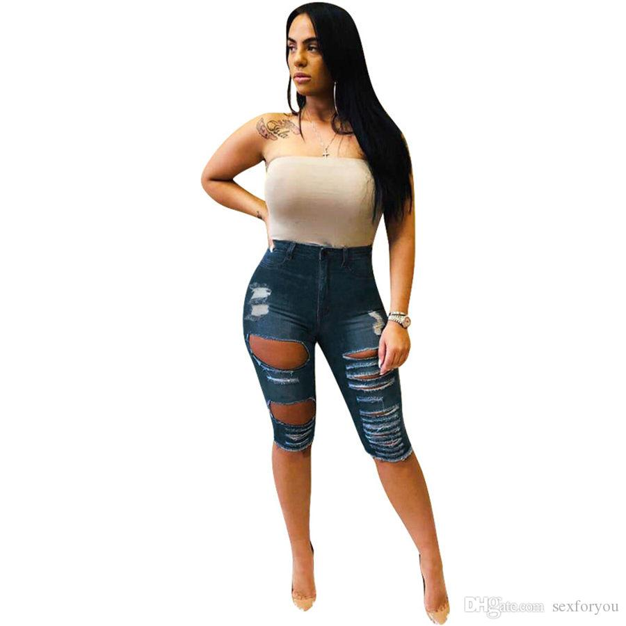 New women jeans summer hole cut out vintage knee length fashion jeans classic casual pants trousers