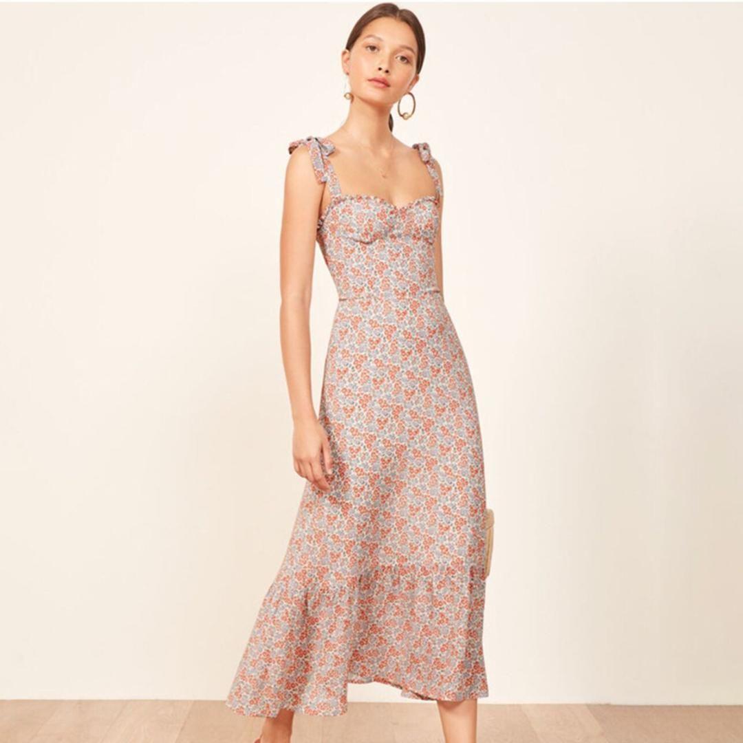 866f66f3111 Nikita Ruffles Midi Dress Women Vintage 2019 Summer Strapless Sleeveless Sexy  Dress Ladies Floral Print Party Club Elegant Plus Size Dress Modest Dresses  ...