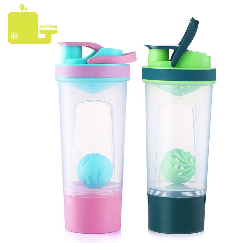Shaker Bottle Plastic Portable Water Bottles Protein Mixer Outdoor Gym Sports Fitness Training Drink Powder Milk 720ml T8190627