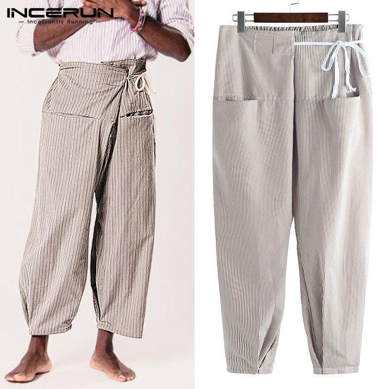 7c10914a4fa INCERUN Striped Thai Fisherman Pants Men Pockets Lace Up Casual Joggers Men  Yoga-pants Vintage Loose Trousers 2019 Plus Size