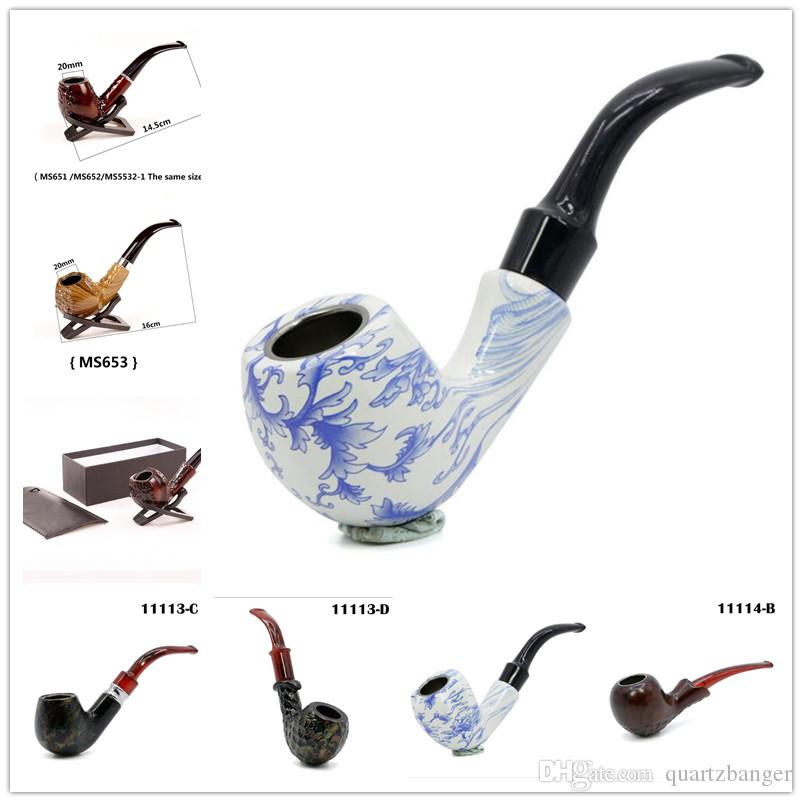 Wooden color Acrylic Hand Tobacco Cigarette Smoking Pipes Blue and white porcelain Pipe With Gift box Holder Bag 11 Styles