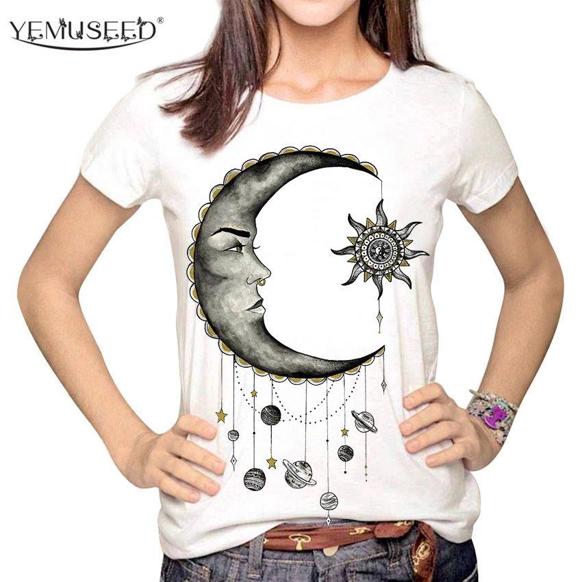 Tops Y Luna Harajuku Tumblr Las Compre Plus Lápiz Sol Moda Dibujos Hipster T Shirt Tees De Yemuseed Camiseta Dibujo Animados Impresos Mujeres 3d 8qz6Oq