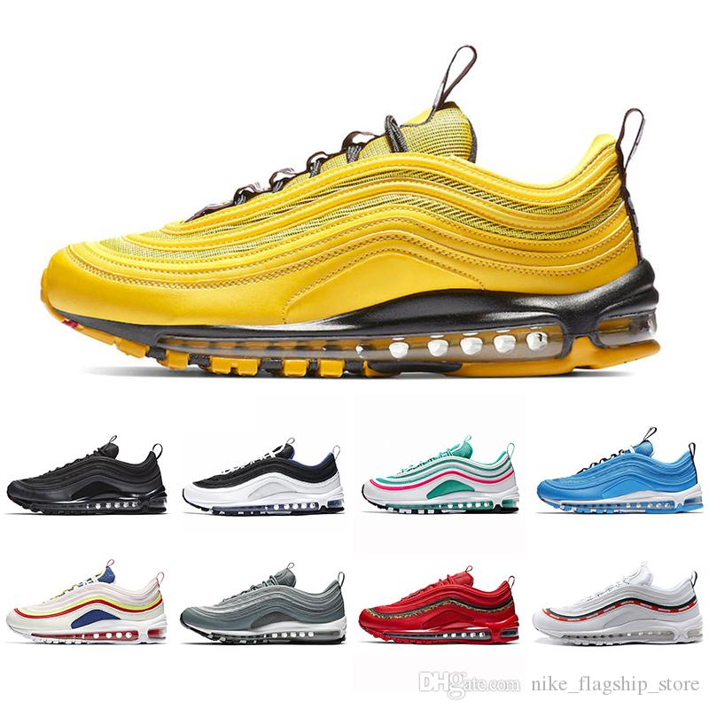 a7f8fc00e25de 2019 Bright Citron Red Leopard 97 Men Women Running Shoes Blue Hero BOLD  PULL TABS Mustard Burgundy Crush Trainer 97s Sports Sneakers 36 45 Shoes  Sports ...