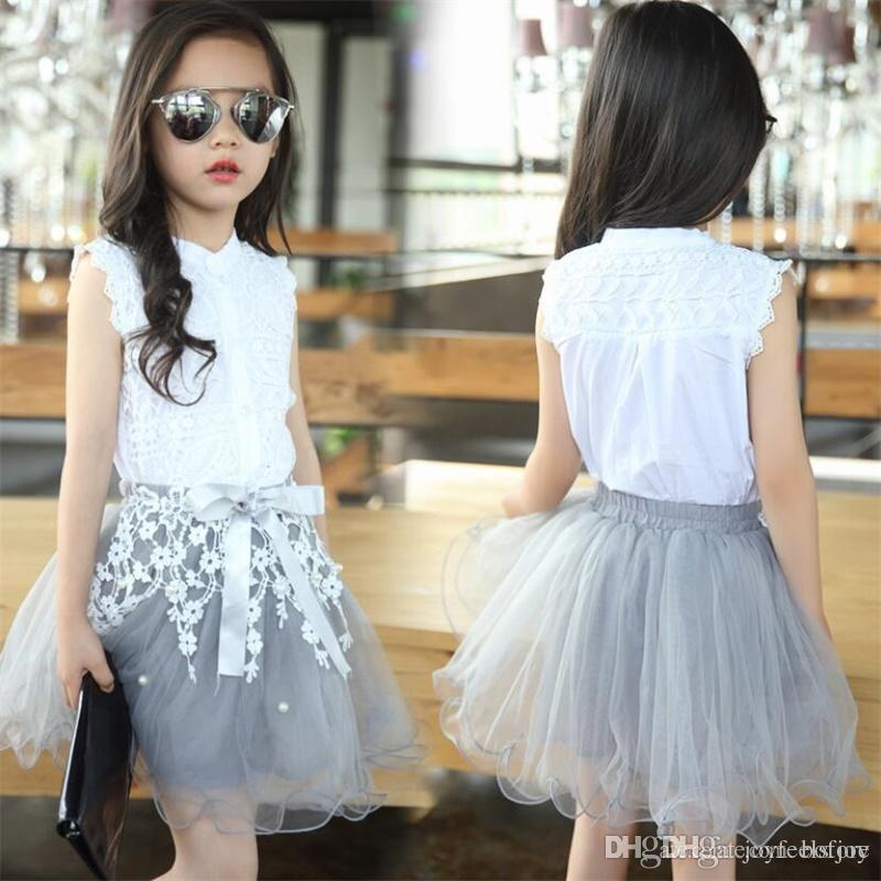 a8f739321 Princess Girls Clothing Sets Summer Lace Dress Fashion Style Baby Clothes  For Girls T-Shirt + tutu Skirts 2Pcs Kids Flower Dress Skirt