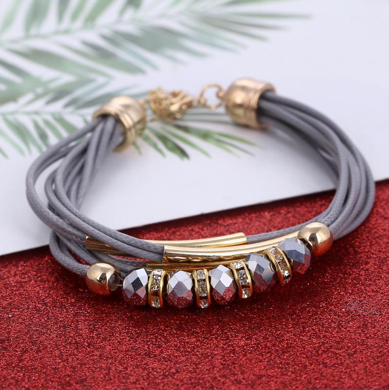 Hesíodo cor cinza multi-camada corrente contas charme pulseiras de estilo punk pulseira de corda de couro genuíno pulseira