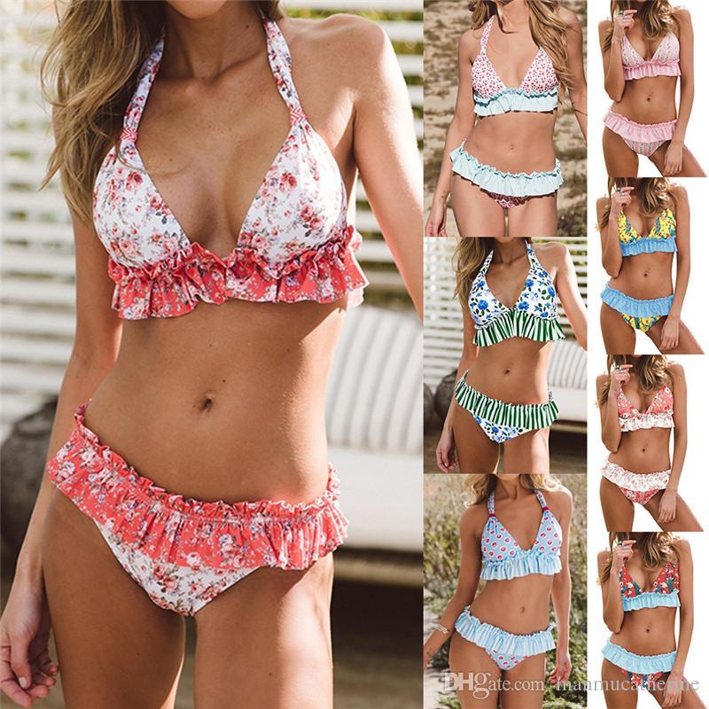 b092d34686e2 Bikini 2019 Bikini de dos piezas para mujer con borde de falda plisada y  traje de baño de cuerpo dividido con un nuevo traje de baño.